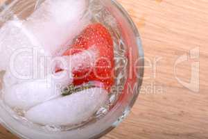 Strawberry cocktail in ice drink