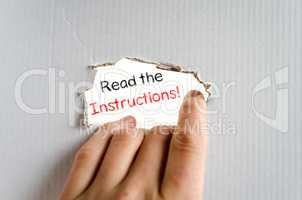 Read the instructions text concept