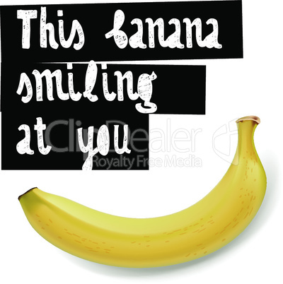 This banana wants you to be happy, vector illustration.