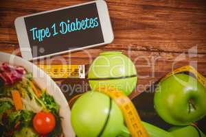 Type 1 diabetes against phone on healthy persons desk