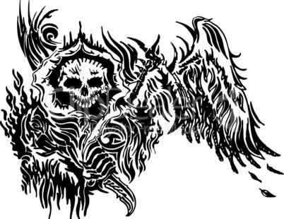 skull tattoo winged vector illustration