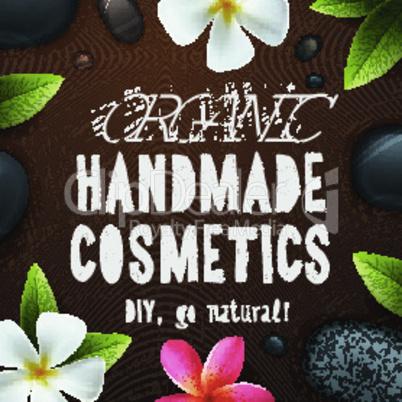 Handmade organic cosmetics, herbal, natural ingredients, vector illustration.
