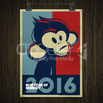 Happy New Year 2016 Greeting Card, Year of Monkey, vector illustration.