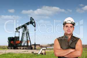 oil worker posing on oil field