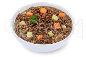 Linsensuppe Linsen Suppe in Suppenschüssel Freisteller