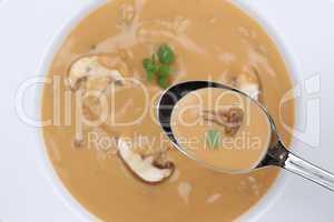 Pilzsuppe essen Pilz Champignons Suppe auf Löffel von oben