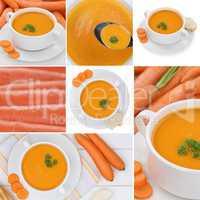 Collage Karottensuppe Möhrensuppe Karotten Möhren Suppe Suppen