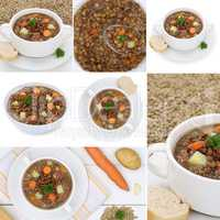 Collage Linsensuppe mit Linsen Suppe Suppen in Suppenschüssel
