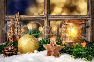 Cozy seasonal decoration on the window sill