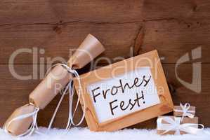 Gift With Text Frohes Fest Mean Merry Christmas, Snow