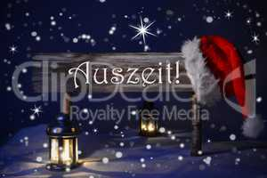 Christmas Sign Candlelight Santa Hat Auszeit Means Downtime