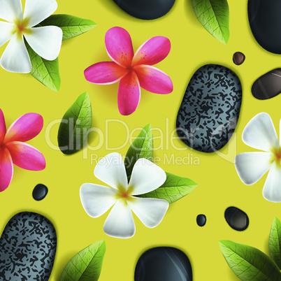 Frangipani flowers background, healthcare and beauty pattern for spa, vector illustration.