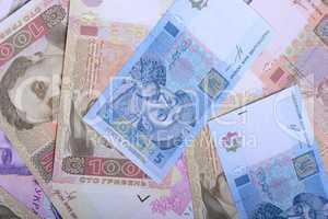 european money, ukrainian hryvnia close up