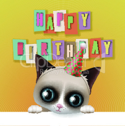 Cute happy birthday card with fun grumpy cat, hipster design, vector illustration.