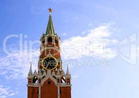 Kremlin tower with clock in Moscow