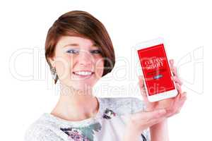 Composite image of beautiful woman presenting smart phone on whi
