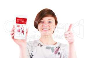Composite image of happy woman gesturing thumbs up while showing