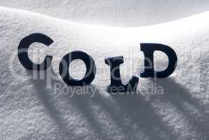 Blue Word Cold On Snow