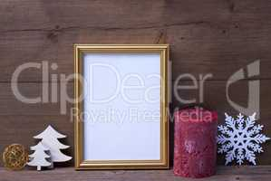 Frame With Candle And Christmas Decoration, Copy Space