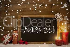 Christmas Card, Blackboard, Snowflakes, Merci Mean Thank You