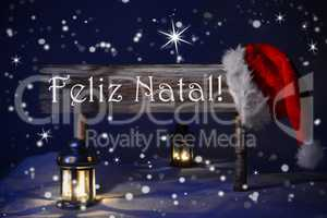 Sign Candlelight Santa Hat Feliz Natal Means Merry Christmas