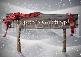 Christmas Sign Seasons Greetings Snowflake, Red Ribbon, Snow
