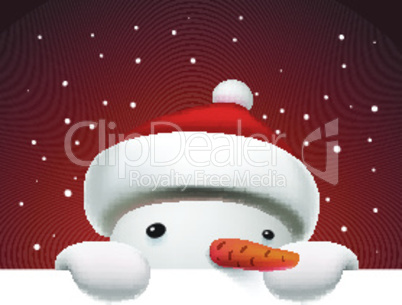 Cute funny snowman holding white page, greeting Christmas card, vector illustration.