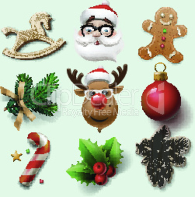 Christmas icons, objects, holiday decoration, vector illustration.