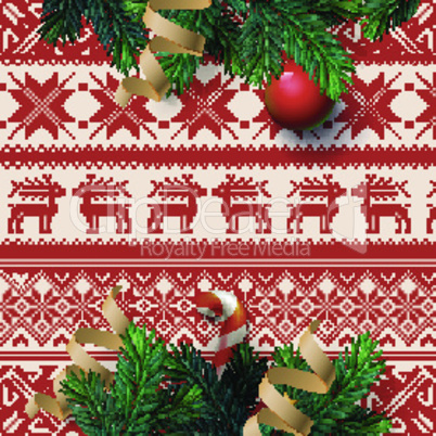 Christmas decoration on the ornamental background, vector illustration.