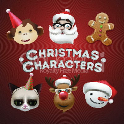 Christmas icons, cute Christmas characters, vector illustration.