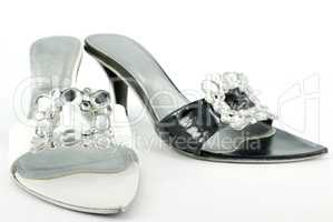 black and white lady elegance shoes