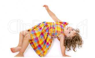 Little girl does gymnastics