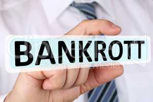 Business man Konzept mit Bankrott Insolvenz Krise Finanzen