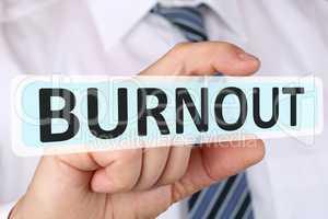 Business man Konzept mit Burnout krank Krankheit im Job Stress