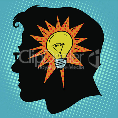 Business concept idea light bulb head