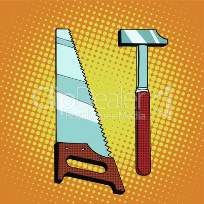 Tools saw hammer