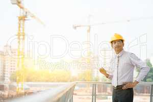 Asian Indian male site contractor engineer portrait