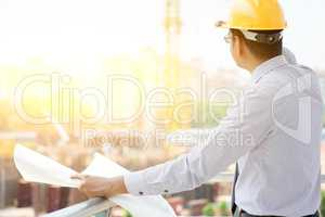 Asian Indian male site contractor engineer working