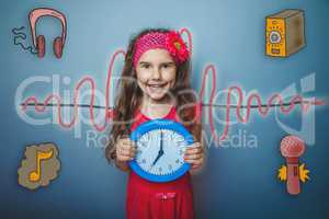 girl holding a clock and smiling sound wave music radio sketch s