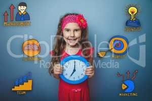 girl holding a watch and laugh a collection of business icons ma