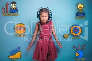 Girl with headphones spreading her arms to the side and frowned