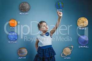 Teen girl holds finger grave Planet Earth Solar System Astronomy