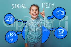 laughing girl points upward social media infographics sketch Int