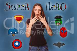Girl hands in amazement at the wonders face super hero super pow
