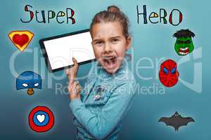 girl holding a tablet and shouting his mouth open super hero sup