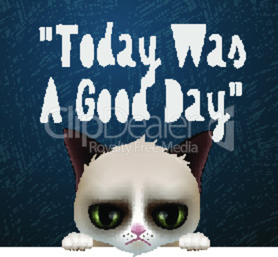 Good morning Monday, with cute grumpy cat, vector illustration.