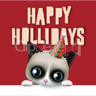 Happy holidays card with fun grumpy cat, vector illustration.