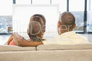 Over shoulder view of casual couple watching tv