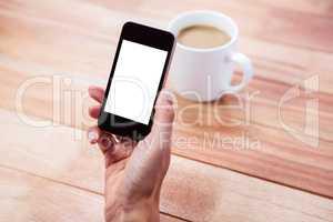 Feminine hand holding smartphone