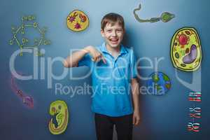 boy points his finger down and laughing joy fun icons biology ed